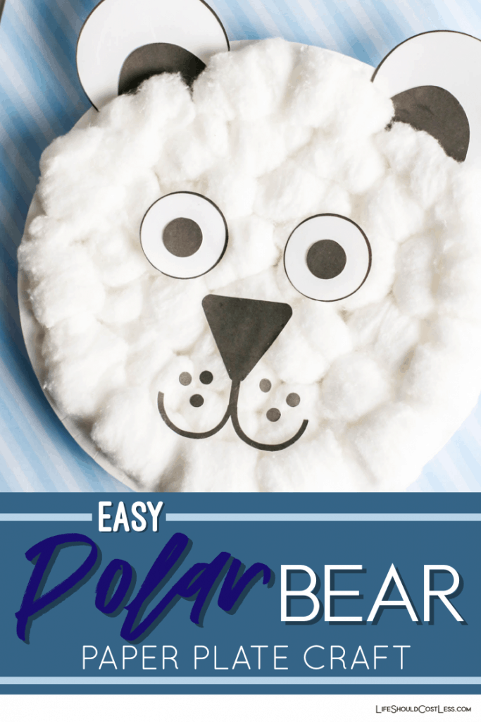 Easy polar bear paper plate craft lifeshouldcostless.com