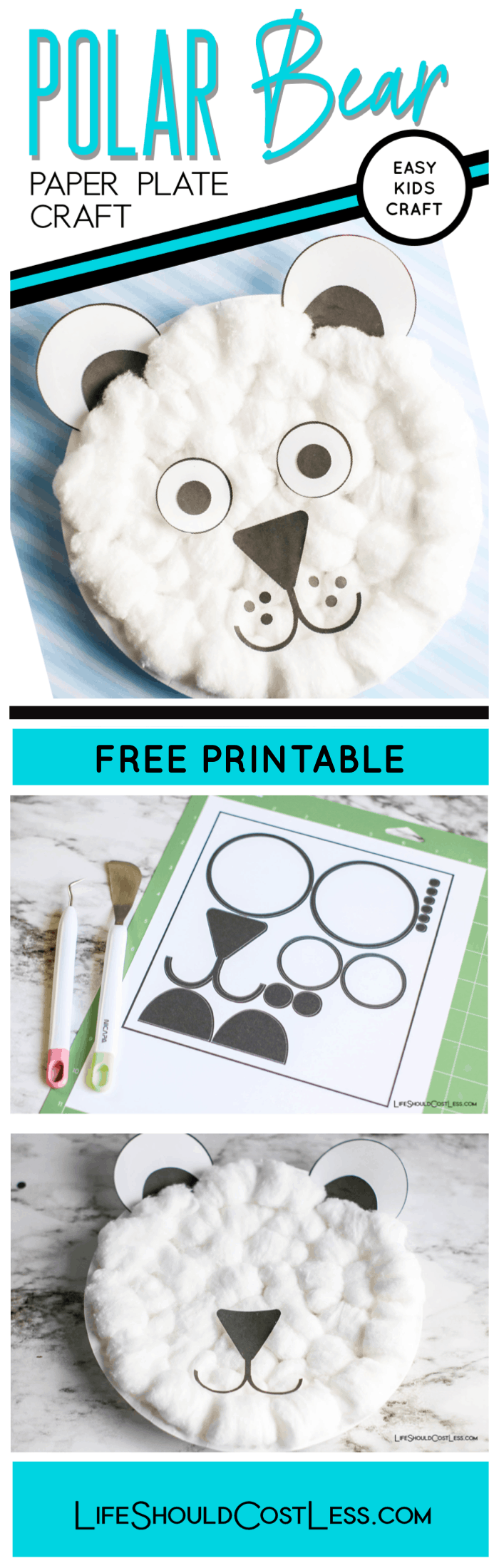 Learn how to make easy polar bear paper plate craft with free printable templates. Perfect for toddler, preschool, and first grade aged kids.