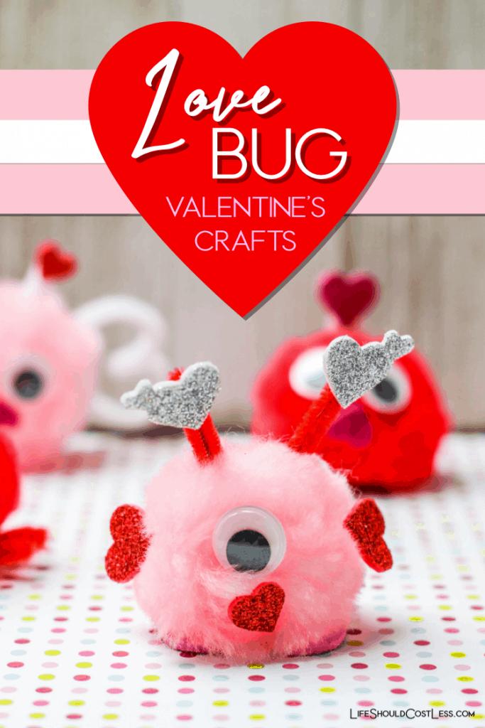 Love bug valentine's craft for preschoolers and elementary kids. lifeshouldcostless.com