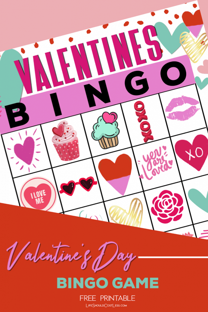 It is a picture of Printable Valentine Bingo Cards intended for fun