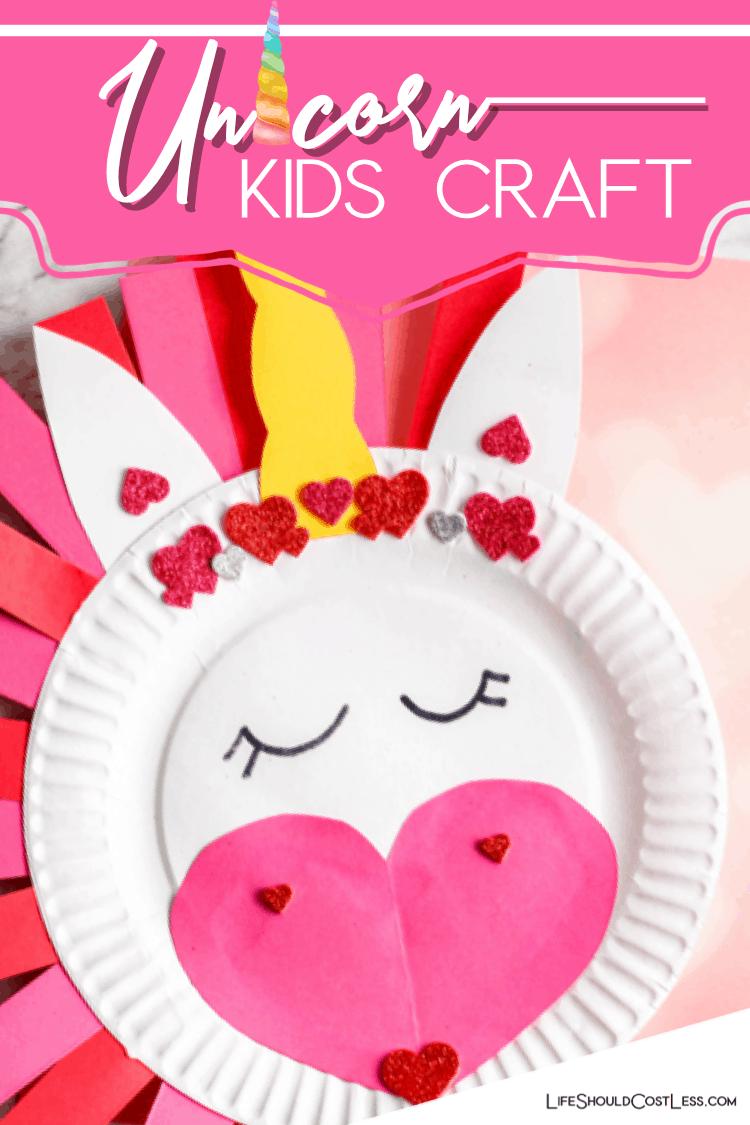 Simple unicorn paper plate kids craft. lifeshouldcostless.com