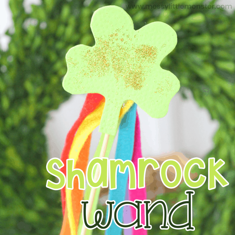 How to make a shamrock wand kids arts and crafts for St Patricks Day. lifeshouldcostless.com