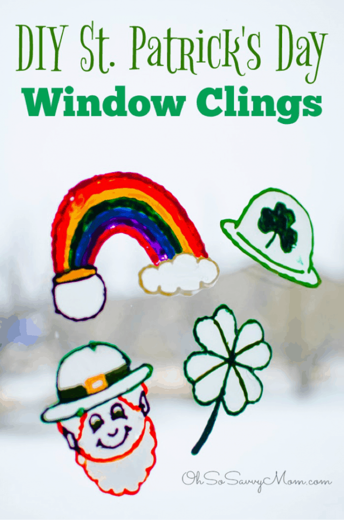 DIY St patricks day window clings craft lifeshouldcostless.com