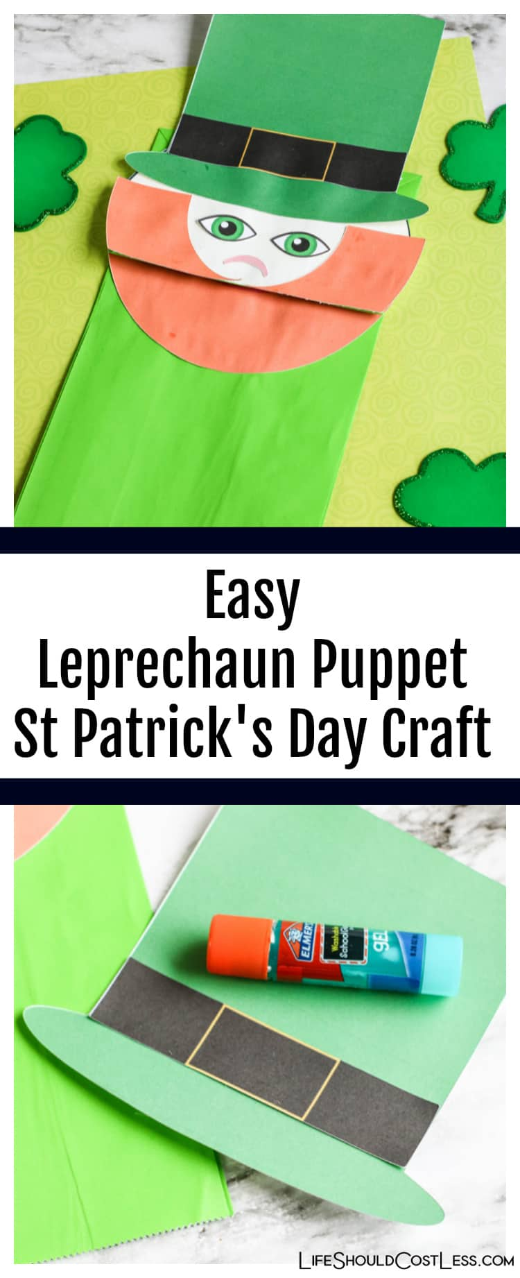 Easy Leprechaun Puppet St Patrick's Day Craft. Paper Bag lifeshouldcostless.com