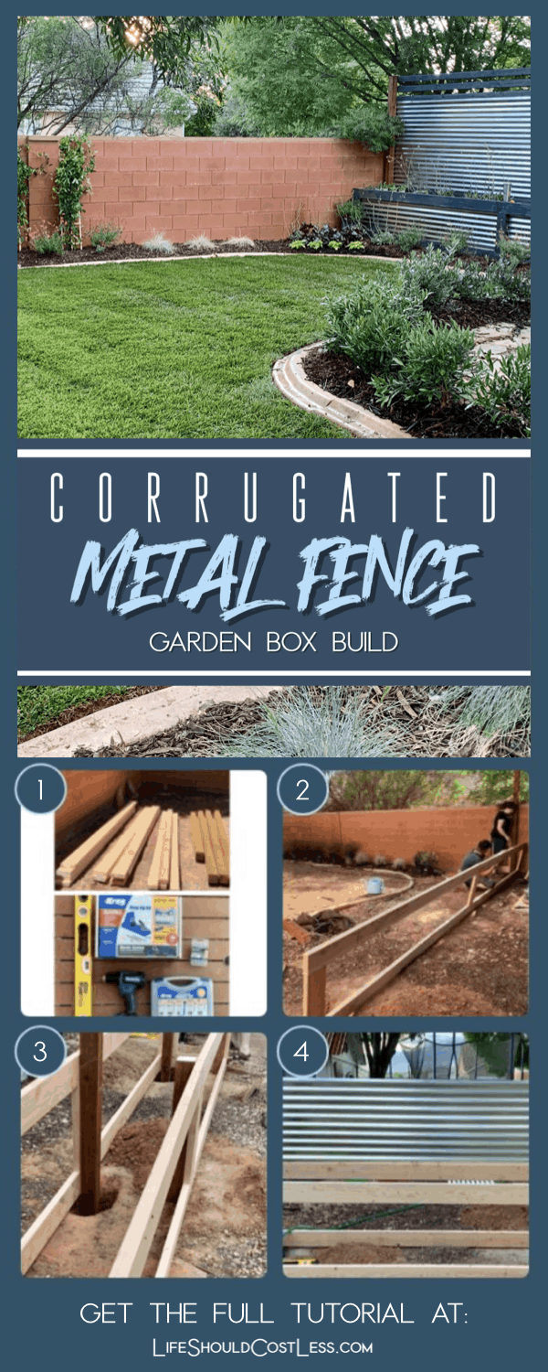 Learn how to make an attractive and functional corrugated metal fence that also has built in raised planter boxes. It's the perfect way to use valuable yard space and can add extra privacy too.