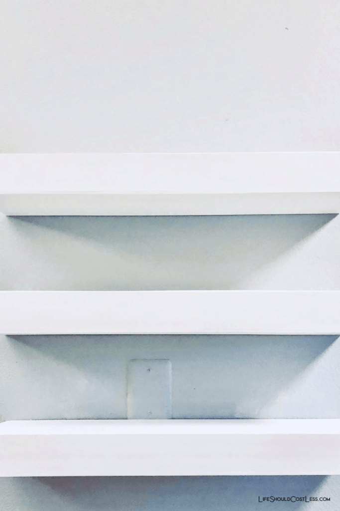 Floating shelves for kitchen beverage bar.
