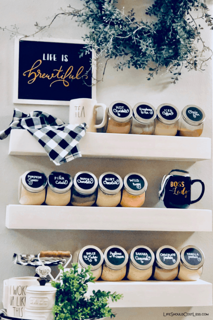 DIY Home Beverage Station for coffee/tea/protein/cocoa...fun bar idea. lifeshouldcostless.com