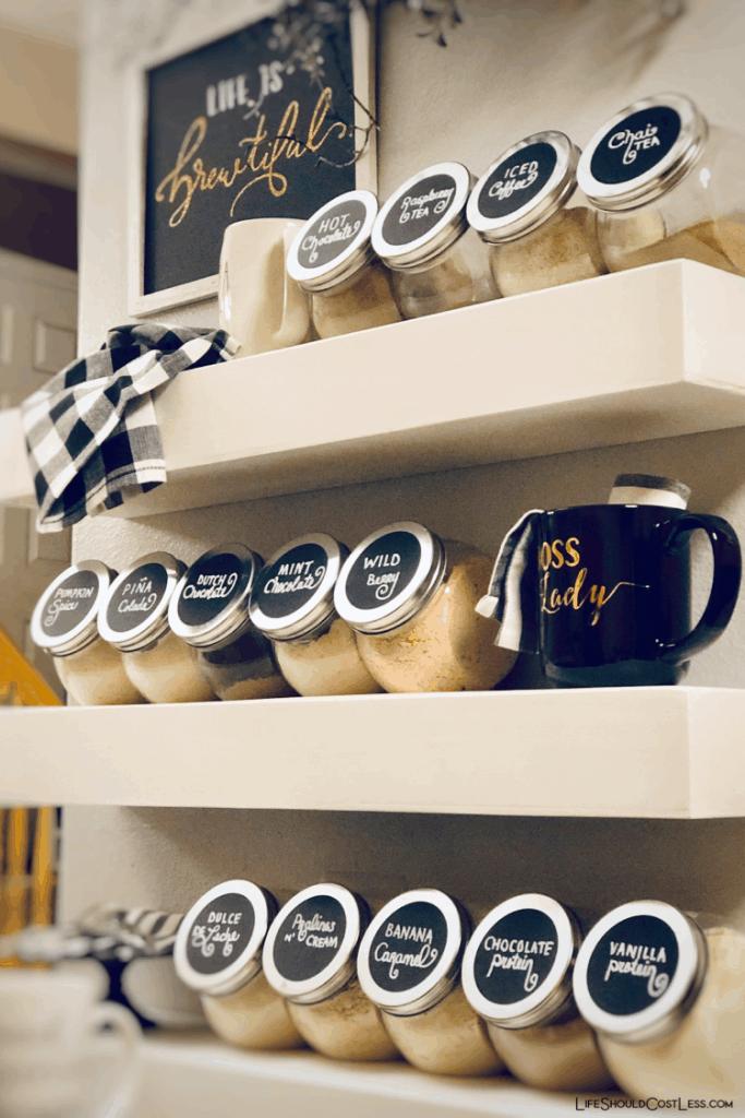 Home coffee/drink bar. Protein powder storage. lifeshouldcostless.com