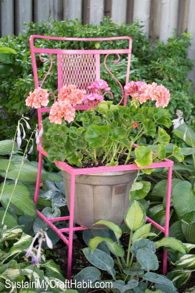 chair turned flower planter