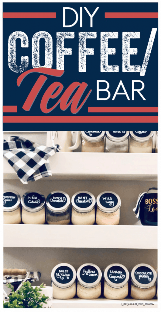 How to make a drink station for coffee/tea/cocoa/protein powder in your home. DIY drink bar/station tutorial. lifeshouldcostless.com