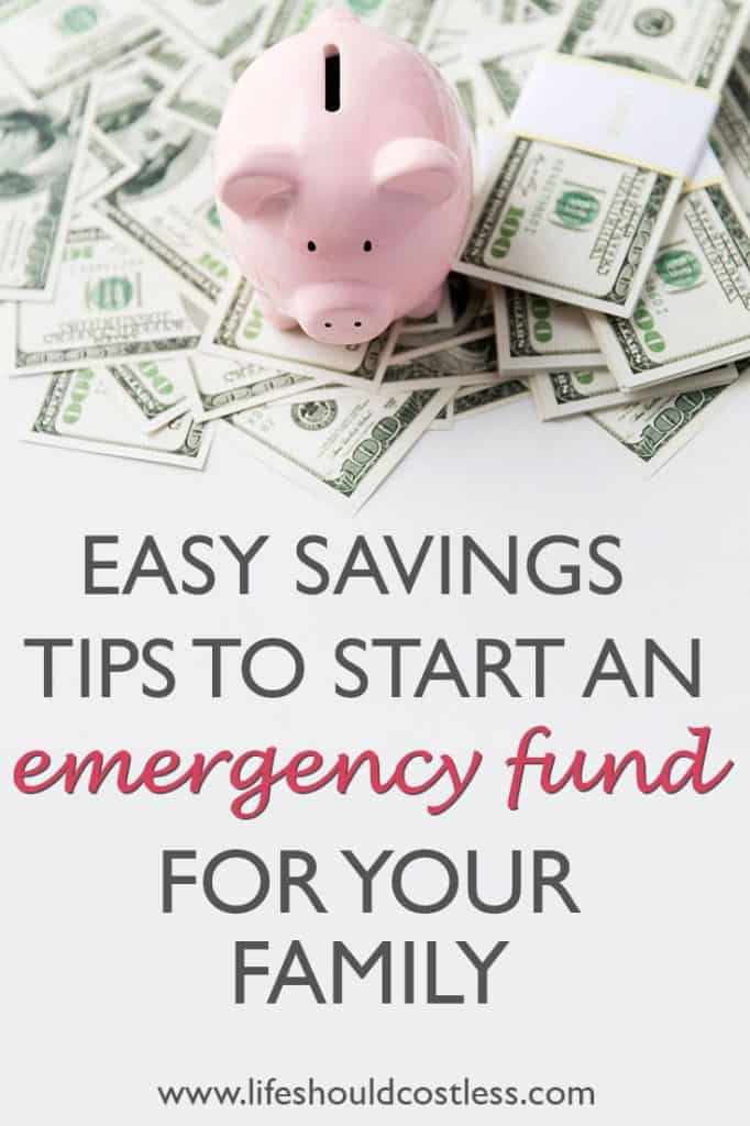 Emergency fund savings tips. Save for rainy days with simple suggestions. lifeshouldcostless.com