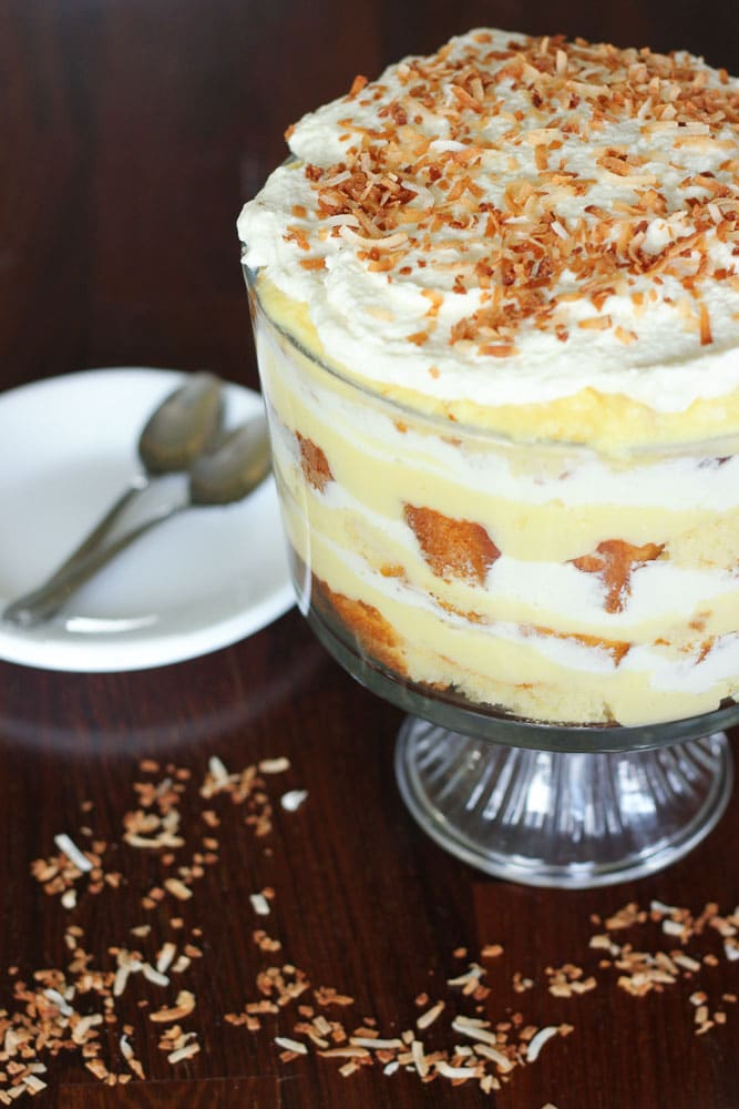 Easy coconut cream trifle with toasted coconut recipe.