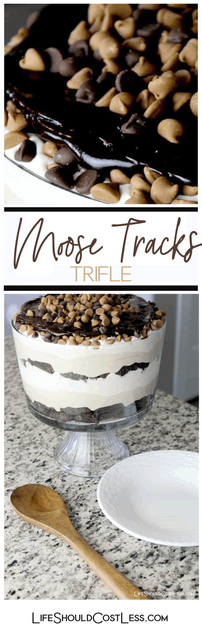 How to make a moose tracks flavored trifle with vanilla mousse and peanut butter mousse and fudge brownies.